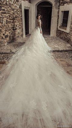 corona borealis 2018 bridal long sleeves sweetheart neckline full embellishment elegant princess sheath wedding dress a line overskirt sheer lace back royal train (6) bv -- Corona Borealis 2018 Wedding Dresses