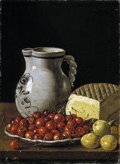 Luis Egidio Meléndez de Rivera Durazo y Santo Padre (1716-1780) — Still Life with  Bowl of Cherries, Plums, Jug and Cheese, 1760 : Museo Nacional del Prado, Madrid. Spain (747×1024)