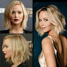 Gina v cuts like this - Frisur einfach aber schön - Medium Hair Styles, Curly Hair Styles, Jennifer Lawrence Hair, Lob Styling, Lob Haircut, Great Hair, Hair Today, Hair Looks, Bob Hairstyles