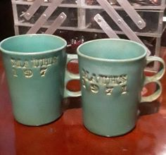 2 MAUHS 1971 Bennington Potters Vermont Blue Green teal Trigger Handle Mugs Cups | eBay