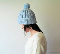Hand Knitted Chunky Hat in Ice Blue  Beanie with Pom Pom