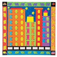 paper weaving elementary art education architecture buildings city cityscape lesson project 3rd grade