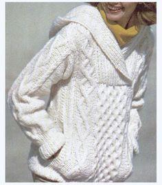Aran Knit Hooded Sweater Super Sweet Pattern by CowichanValley Aran Knitting Patterns, Knit Patterns, Free Knitting, Cool Sweaters, Aran Sweaters, Cable Sweater, Cardigans, Hooded Sweater, Knit Or Crochet
