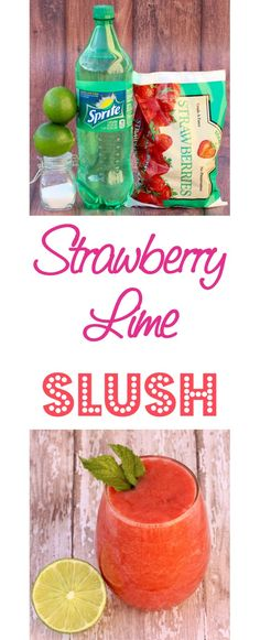 Strawberry Slush Recipe!  These EASY Strawberry Lime Slushies are insanely delicious, and the perfect way to get your weekend started in the right direction!  Kids and adults will love them.  Just 5 ingredients!! | TheFrugalGirls.com