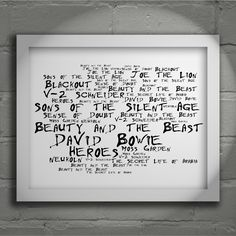 David Bowie 'Noir Paranoiac' Heroes limited edition typography lyrics art print, signed and numbered album wall art poster available from  www.lissomeartstudio.com
