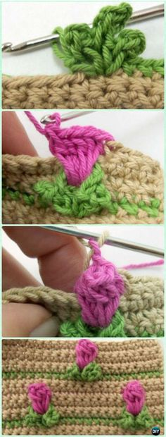 Crochet Rosebud Flower Stitch Free Pattern - Crochet Flower Stitch Free Patterns