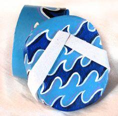 Small Gift Box Flip Flop Sandal Hand Painted Ocean by HulaSistas, $6.00