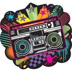 Totally Cutout Decoration of a Boom Box Stereo. Great for Retro and New Wave Themed Parties. Homemade Wedding Favors, Creative Wedding Favors, Inexpensive Wedding Favors, Party Fiesta, Neon Party, 80s Party, Bolo Neon, 80s Birthday Parties, Themed Parties
