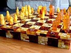 Gorgeous Amber Chess Set and Board