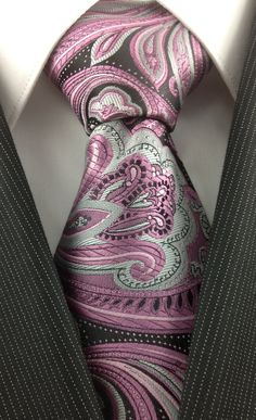 Pink, Silver and Black Paisley Necktie