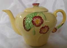 Antique Yellow Ware Teapots | Carlton Ware Primula Teapot/Tea Pot yellow 1943