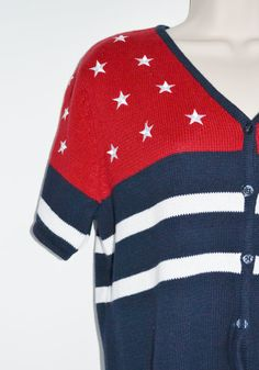 4th of July!  Vintage Cardigan Sweater Vintage Red White and by founditinatlanta, $27.00