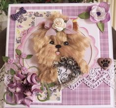 Yorkie Mother's day easel card in purple