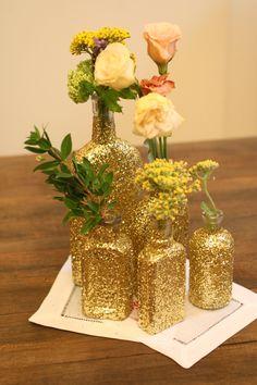 DIY Glitter Vases and Votives - Always a Blogsmaid >> The Blog of AaB Creates Always a Bridesmaid