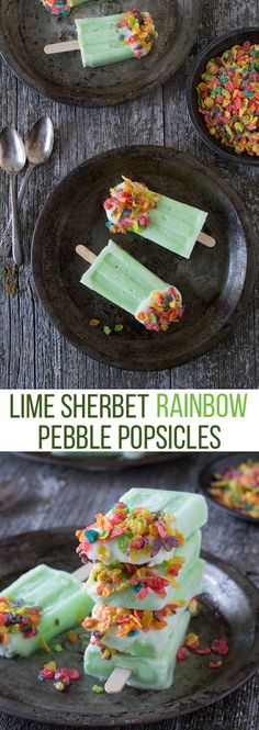 Lime Sherbet Rainbow Pebble Popsicles - a quick and easy treat for St. Patrick's Day!