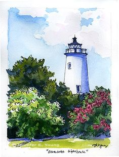 I love to find lighthouses. pen and watercolor landscapes