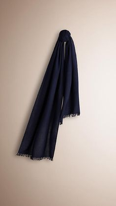 Indigo blue Lightweight Wool Cashmere Scarf Indigo Blue - Image 1