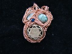 Star of David Double-Sided Natural Crystal Pendant, Hand Wire Wrapped with Copper Wire (w/ Tree Agate Cabs & Blue Jade) by UniversalMenCreation, $35.00
