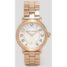 Marc Jacobs Rose Gold Riley Watch MJ3471 ($339) ❤ liked on Polyvore featuring jewelry, watches, rose gold, pink gold jewelry, rose gold wrist watch, water resistant watches, red gold jewelry and pink gold watches
