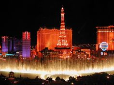 Bellagio Fountains, Las Vegas. These fountains are choreographed to various kinds of music and present a show in every 15 to 30 minutes.