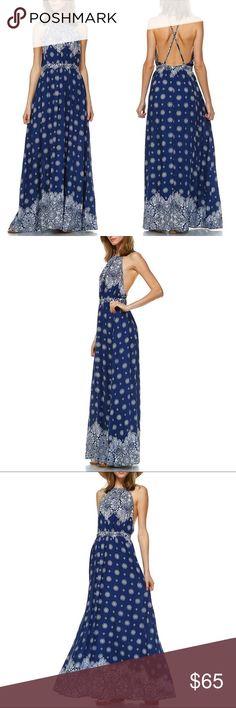 1 HR SALELOU floral print halter maxi -NAVY BLUE 100% Rayon. PRICE FIRM Bellanblue Dresses Maxi