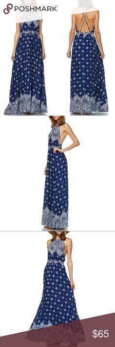 🆕LOU floral print halter maxi - NAVY BLUE 100% Rayon. 🚨PRICE FIRM🚨 Bellanblue Dresses Maxi