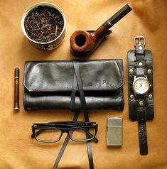 "theos-pipes: "" Leather Pipe & Tobacco Pouch in black. via Etsy. Pipes And Cigars, Cigars And Whiskey, Men's Grooming, Cigar Smoking, Smoking Pipes, Old School Style, Oldschool, Leather Pouch, Leather Accessories"