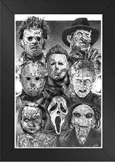 FRAMED - HORROR NIGHTS MOVIE VILLAINS - SCARIEST POSTER EVER ORIGINAL SKETCH PRINTS - POSTER SIZE - BLACK & WHITE - FEATURES ALL TIME FAVORITE EVIL GUYS –PRINT OF HIGHLY-DETAILED, HANDMADE DRAWING BY ARTIST MIKE DURAN…
