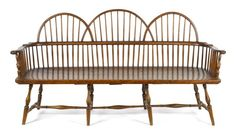 Sold $14,000 Extremely rare Philadelphia triple-chair back Windsor settee, ca. 1780, with knuckle arms, 38'' h., 69 1/2'' w.