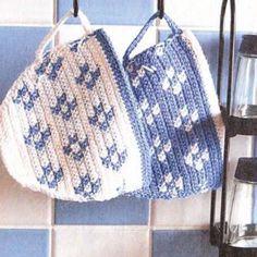 Crochet Diy, Crochet Hot Pads, Crochet Home, Crochet Crafts, Yarn Crafts, Crochet Projects, Crochet Flower, Knitting Patterns, Crochet Patterns