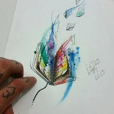 Image result for watercolor books tattoos