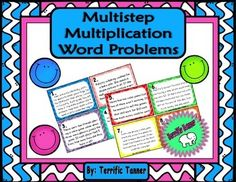 Multistep Multiplication Word Problem Task CardsSimply print, cut, and use!These 40 cards are perfect for practicing word problem solving skills. The cards can be used as an around the room scavenger hunt, desk scoot game, or simply as a stack of task car Properties Of Multiplication, Multiplication Problems, Associative Property, Problem Solving Skills, Fifth Grade, Addition And Subtraction, Word Problems, Task Cards, Math Centers