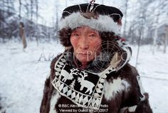 Image of vitally elrika, an elderly even reindeer herder from northern evensk. magadan region, eastern siberia, russia. by ArcticPhoto