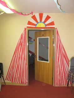 vbs circus decorations | Each of the classroom doors are decorated to resemble circus tents.