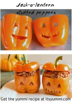 Halloween dinner ideas: Jack O Lantern stuffed peppers. Adorable!