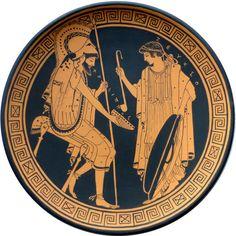 Piatto decorativo mitologico. Ceramica antica Grecia. Copia terracotta diametro 25cm.