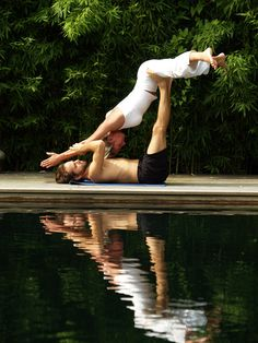 Two People Acro Yoga Poses Very Nice!!!