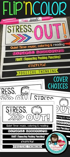 Students will reduce stress & anxiety by following the tips in this flip book activity. Five techniques are covered in the book including Quiet Activities, Mindful Breathing, Force (exertion), Exercise and Positive Thinking. Coloring the book is half the fun and also a great stress management tool!