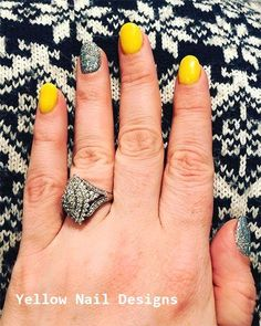 23 Great Yellow Nail Art Designs 2019 - We love our Makeup, Hair and nails - Grey Nail Art, Yellow Nail Art, Matte Nail Art, Nail Nail, Silver Nail Designs, Cute Nail Art Designs, White Summer Nails, Yellow Nails Design, Cute Nail Colors