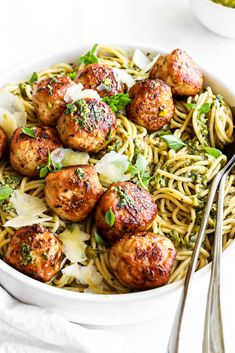 Golden juicy chicken meatballs served on a bed of basil pesto soaked spaghetti. A simple and delicious family friendly recipe. Pasta Recipes, Chicken Recipes, Dinner Recipes, Cooking Recipes, Healthy Recipes, Spaghetti Recipes, Recipes With Chicken Meatballs, Kitchen Recipes, Crockpot Recipes