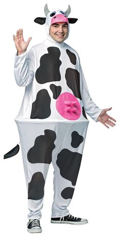 Moooooooooove Into What Will Be The Hit Costume At The Halloween Party! Full-Length White Costume With Black Cow Print Design, Pink Udders At Stomach Area And A Connected Hood With Cows Face, Ears And Horns. Wearer'S Face Is Visible Through Mouth Of Item. Black Cow, White Cow, Black N White, White Halloween Costumes, White Costumes, Halloween Party, Easy Halloween, Funny Costumes, Adult Costumes