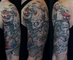 Chronic Ink Tattoo - Toronto Tattoo Foo dog and Koi fish half sleeve tattoo done by BKS.