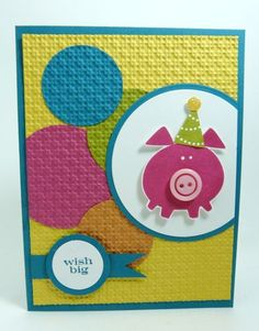 Happy Birthday Pig by Stamp Addict 77 - Cards and Paper Crafts at Splitcoaststampers Happy Birthday Pig, Kids Birthday Cards, Happy Pig, Tarjetas Stampin Up, Stampin Up Cards, Kids Cards, Baby Cards, Button Cards, Cool Cards