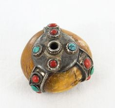ANTIQUE TIBETAN AMBER CORAL TURQUOISE STERLING BEAD