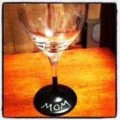 Love this idea...Chalkboard wine glasses