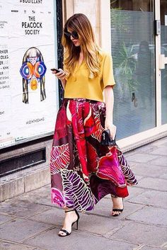 Modest vibrant and bold floor length floral printed maxi skirt | Shop Mode-sty