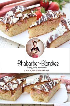 Kennst du schon Rhabarber-Blondies? Nein noch nicht, dann musst du sie unbedingt backen! Die perfekten Rhabarber-Blondies müssen meiner Meinung nach, leicht, saftig und intensiv nach Rharbaber schmecken. Hier bekommst du mein absolutes Lieblingsrezept mit Rhabarber dieses Jahr! #rhabarber #rhabarberzept #kuchen #sommer #frühling #einfach #süss #sonntagsistkaffeezeit Rhubarb Recipes, Rhubarb Rhubarb, Sweet Bakery, Spring Recipes, Chef Recipes, Fabulous Foods, Cupcakes, Good Food, Food And Drink