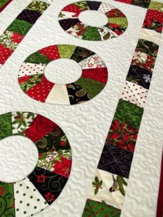 Christmas table runner. Or any kind of runner. The center of the dresdens can be where the mason jars go.