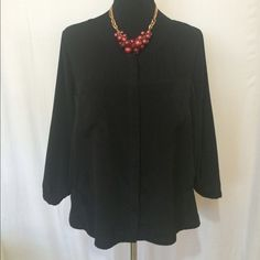 DKNY Jeans Black 3/4 Sleeve Blouse Lovely black 3/4 sleeve DKNY Jeans blouse. Fine mesh panel by collar bone and upper back. Classic staple for any fashionista's closet! DKNY Jeans Tops Blouses