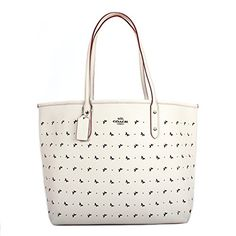 Coach City Tote Bag In Perforated Crossgrain Leather Chalk